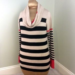 One A Sweaters - Camel Striped Cowl Neck Sweater